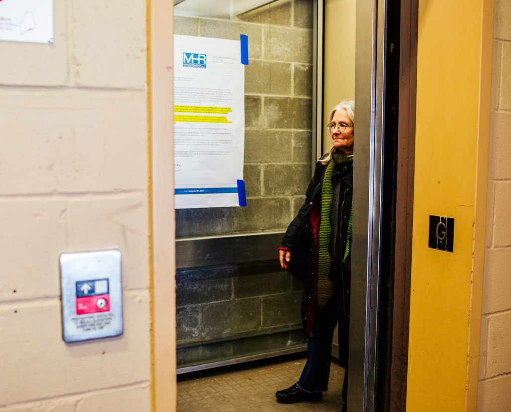 Timmi Sellers uses the elevator at the parking garage for Casco Bay Lines on Wednesday. The elevator will be out of service for five months, starting Monday. Whitney Hayward/Staff Photographer