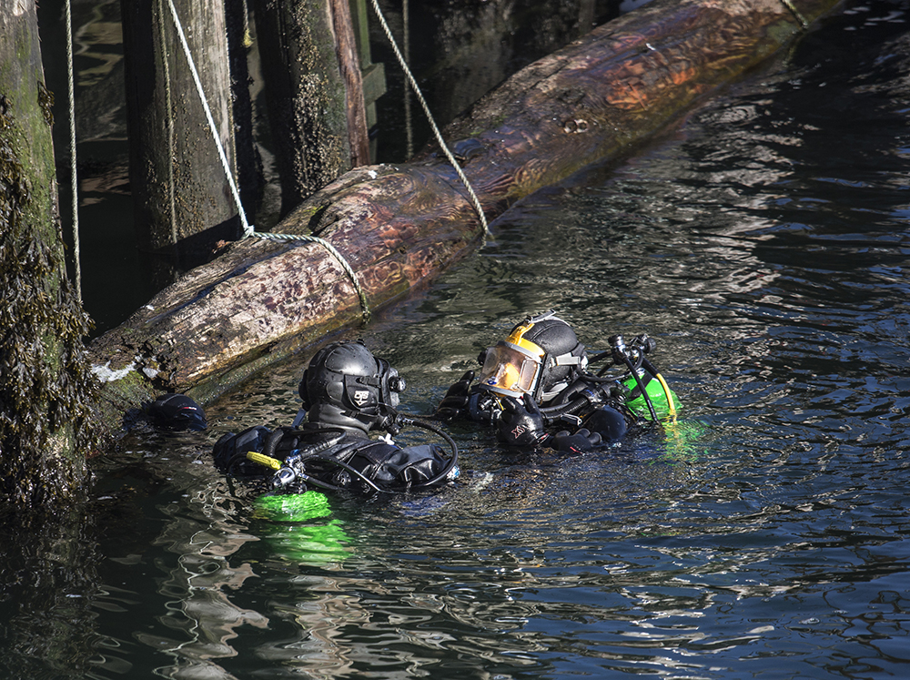 Divers from the Portland and South Portland police departments continue their search for missing person James Dyer near Union Wharf in Portland on Tuesday. Whitney Hayward/Staff Photographer