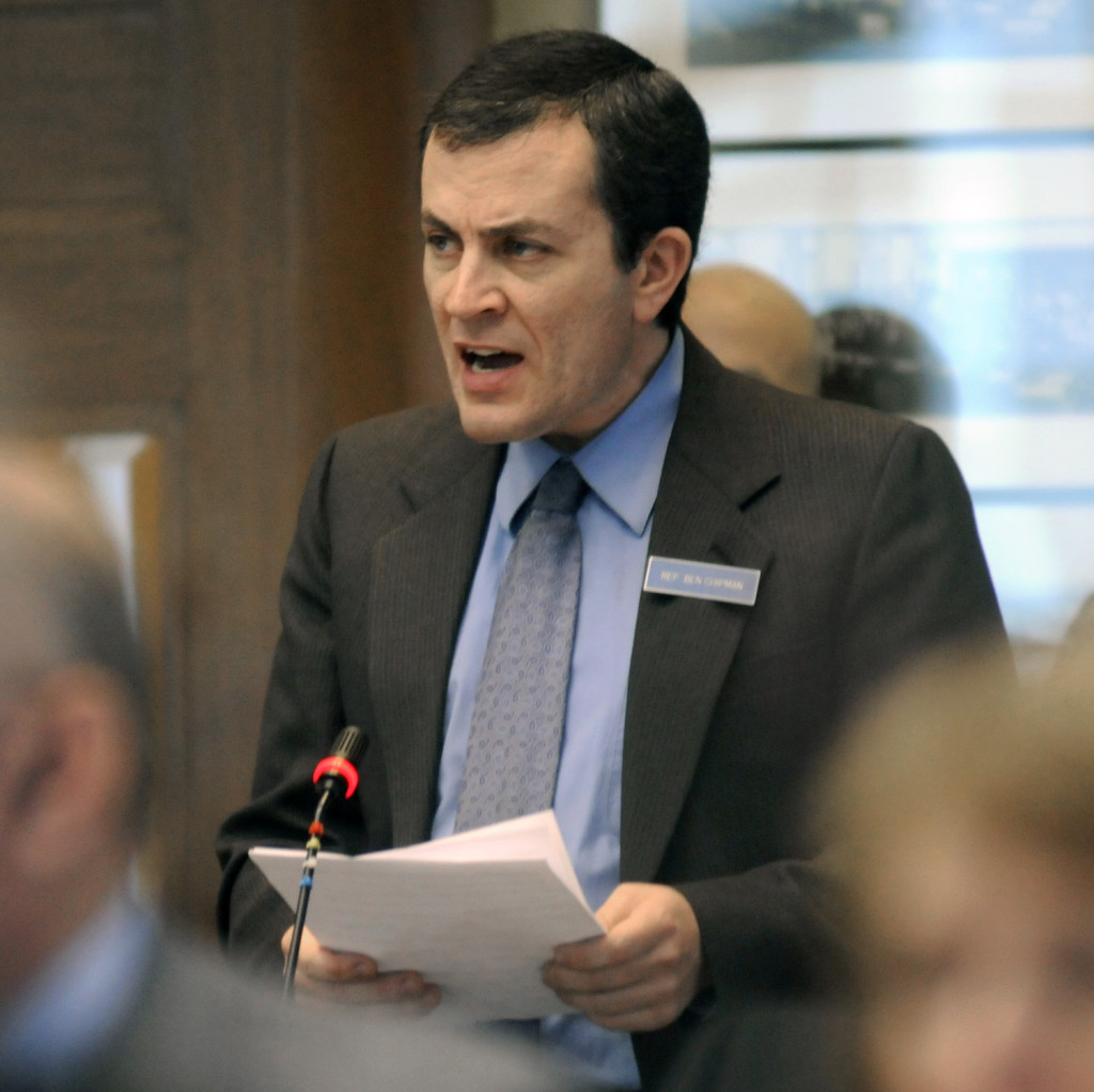 Rep. Ben Chipman, D-Portland, speaks Thursday in favor of a motion to initiate impeachment proceedings against Gov. Paul LePage in the House of Representatives in Augusta.