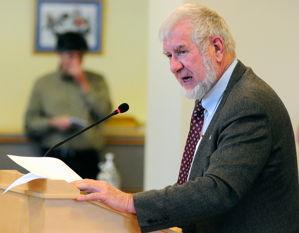 """Sen. David Woodsome, R-North Waterboro, introduces his bill Thursday before the Legislature's Health and Human Services Committee. He said, """"When I say this legislation is a matter of life and death, I am not exaggerating."""" Joe Phelan/Kennebec Journal"""