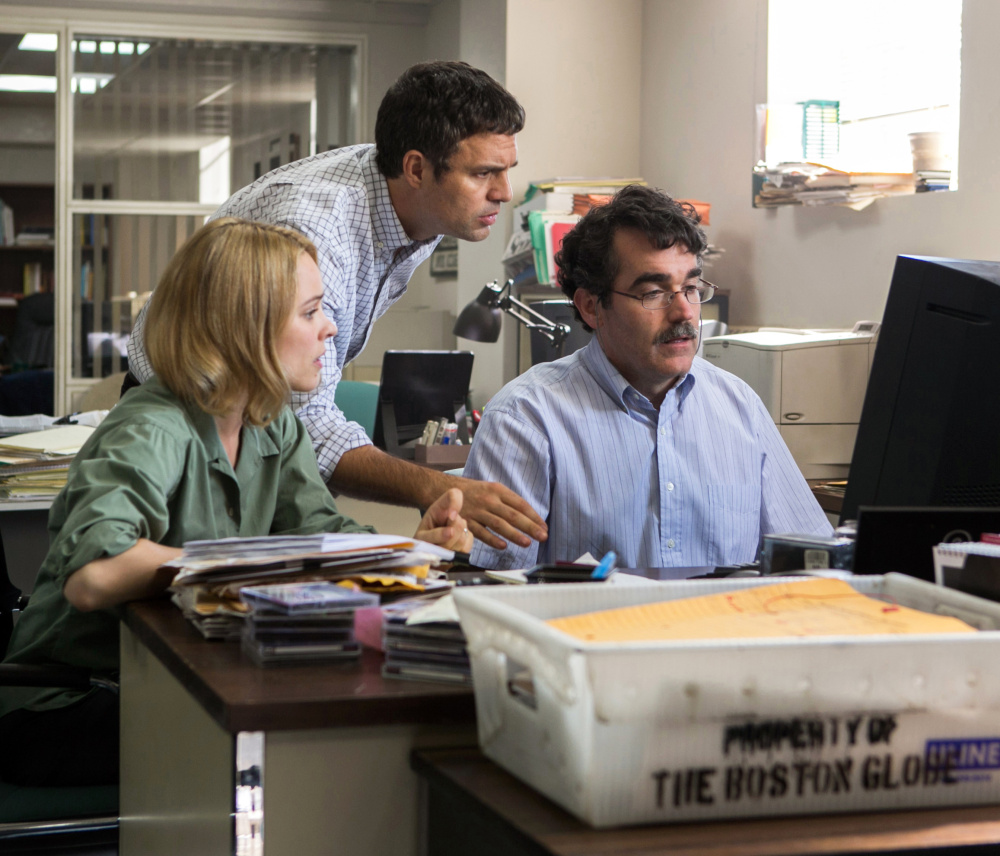 "The violence in  ""Spotlight,"" with Rachel McAdams, Mark Ruffalo and Brian d'Arcy,  is treated more obliquely. Open Road Films"