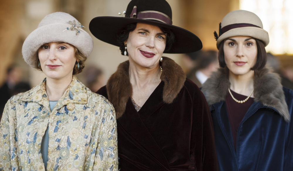 Laura Carmichael, left, as Lady Edith Crawley, Elizabeth McGovern as Cora, Countess of Grantham, and Michelle Dockery as Lady Mary Crawley.