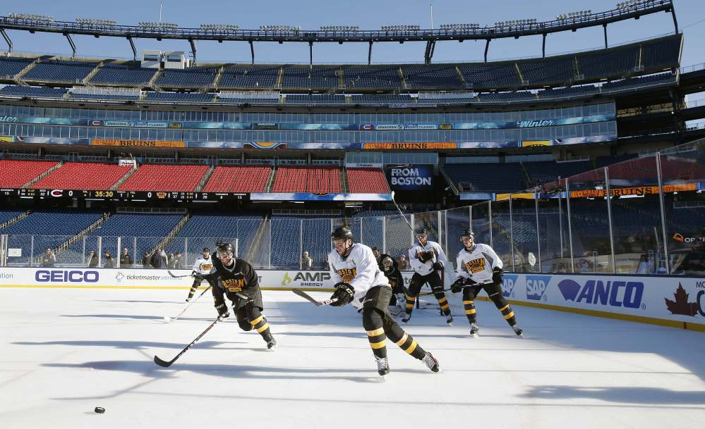 It's just down the road yet light years from the TD Garden for the Boston Bruins, who prepared Thursday in Gillette Stadium – home of the New England Patriots – to take on the Montreal Canadiens in the NHL's annual Winter Classic on Friday.