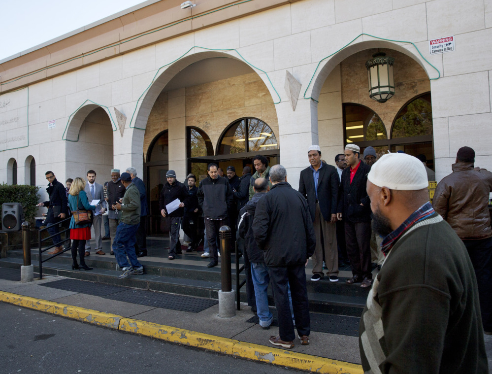 Muslims arrive for Friday prayers at Dar al-Hijrah Mosque in Falls Church, Va. Americans rank Muslims as the least deserving of religious protections, according to a new poll.