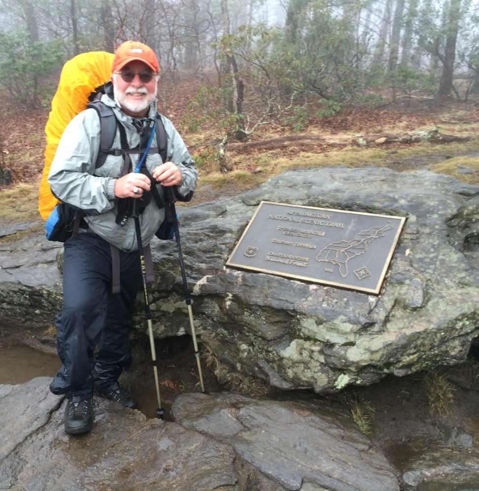 Carey Kish at the start of the Appalachian Trail in Springer Mountain, Ga., on March 18.