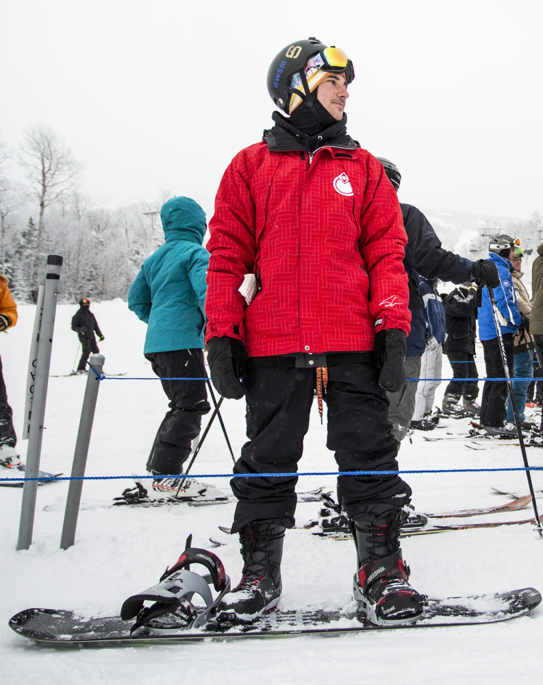 """University of Maine student Sergey Terrio finds Saddleback's atmosphere """"homey,"""" but still appreciates Sugarloaf's terrain."""