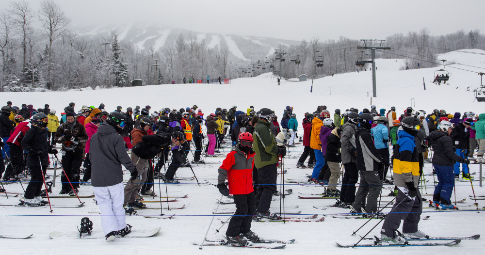 Sugarloaf's lift lines were longer than usual Wednesday as the crowd included many skiers and snowboarders who might otherwise have been at Saddleback in Rangeley.