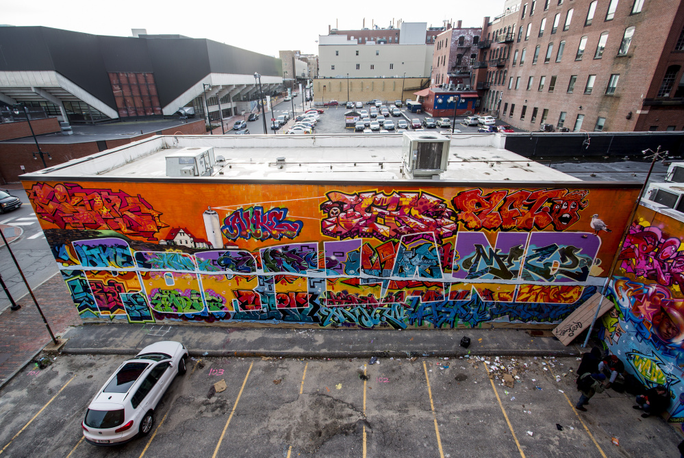 The east-facing wall of Asylum has been reserved for graffiti artists since the Portland club at Center and Free streets opened in 1997.