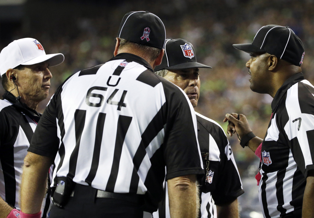 Huddles among NFL officials seem to be happening with greater frequency, and the resulting decisions often leave players, coaches and fans baffled.
