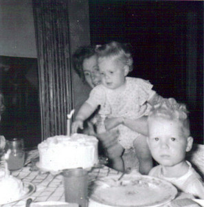 June Paulsen, seen with daughter Beth and son David, made this cake in 1954 for her little girl's first birthday.