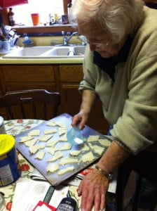 "June Paulsen makes what she called ""pie crust cookies"" in this family photo."