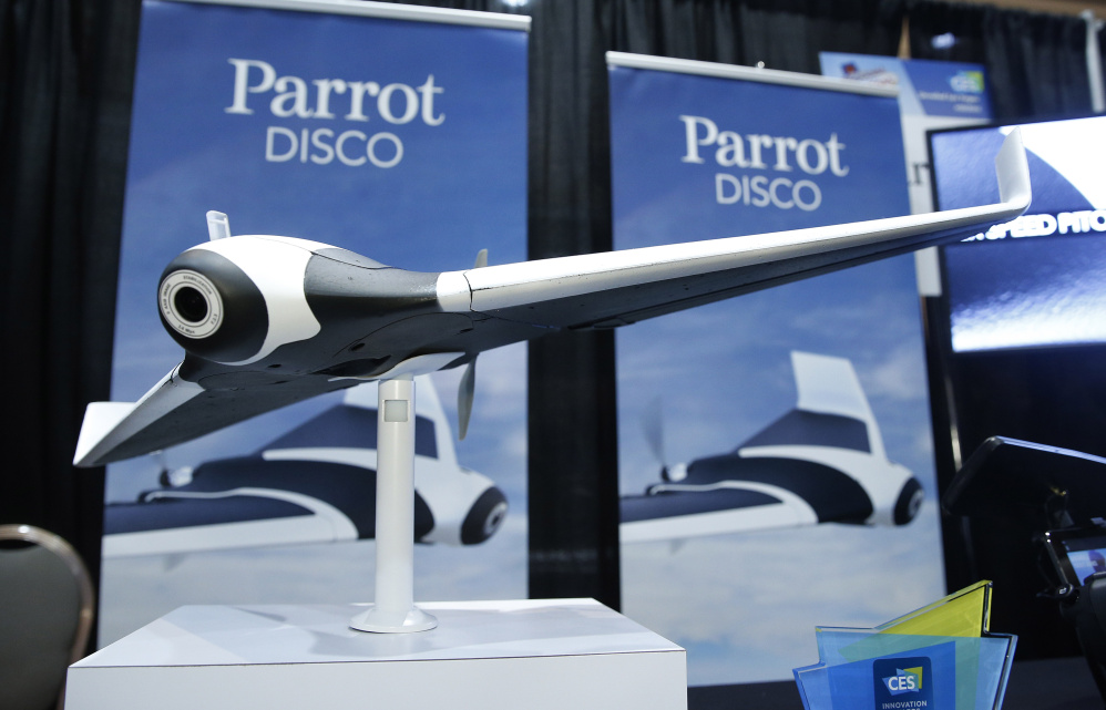 The Parrot Disco prototype drone is a fixed-wing drone with a fish-eye camera that can fly for about 45 minutes at up to 50 miles per hour. Weighing 1.5 pounds, it is launched by tossing it into the air like a Frisbee, whereupon autopilot takes over.