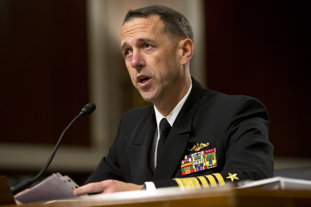 Navy Adm. John Richardson worries about North Korea making new advances in its nuclear weapons and missile programs.