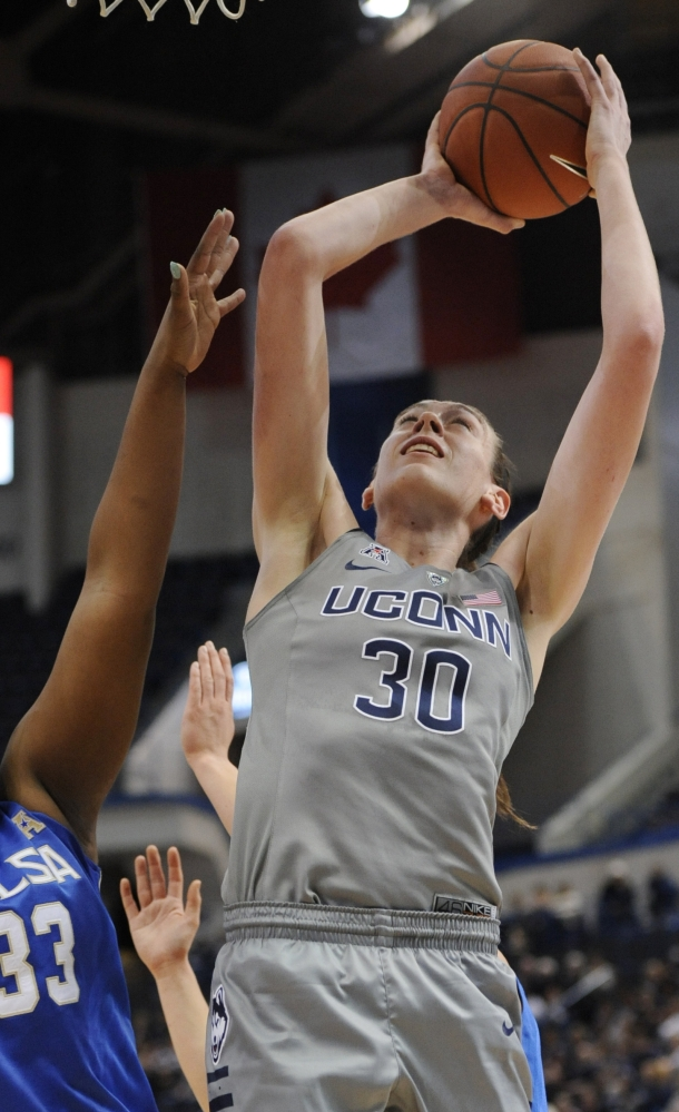 Connecticut's Breanna Stewart goes up for a shot in the first half of the Huskies' 95-35 win over Tulsa at home on Wednesday night, the team's 49th straight victory.
