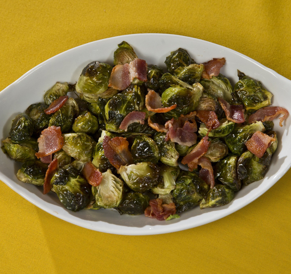 Roasted Brussels sprouts with bacon.
