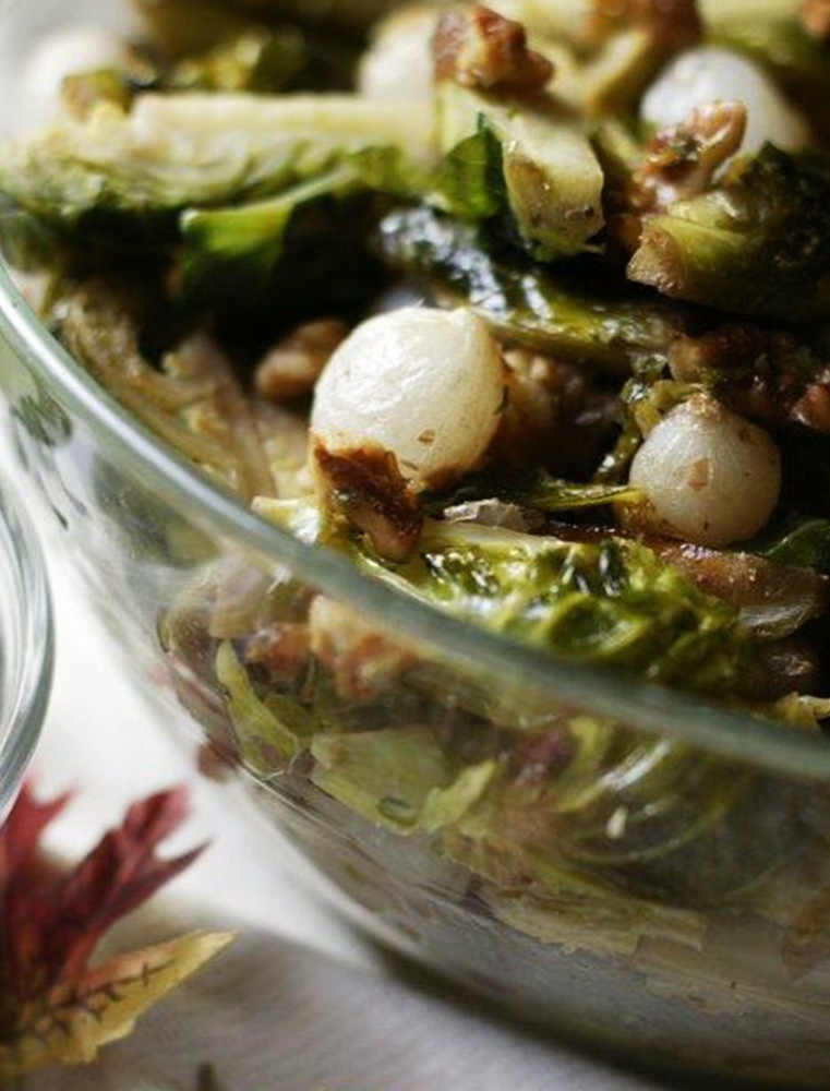 Brussels sprouts with carmelized pearl onions and maple syrup. Mandi ...