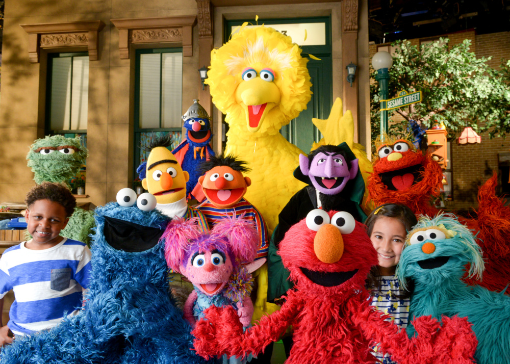 "The familiar cast of ""Sesame Street."""