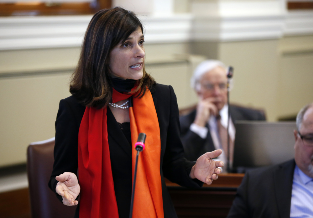 "Rep. Sara Gideon, D-Freeport, said Gov. LePage's immigration proposal ""would both set up police to pull over people based on the color of their skin and punish communities by withholding their funding if they don't go along."""