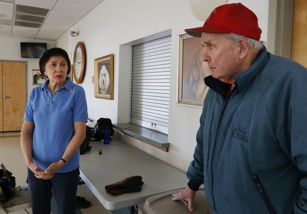 """Diane and Rodney Anderson, at the Wells & Ogunquit Center, discuss Lucie McNulty, whose death in her Wells home went undetected for more than two years. """"You should keep in touch with your neighbors,"""" said Diane Anderson, who teaches line dancing at the senior center."""