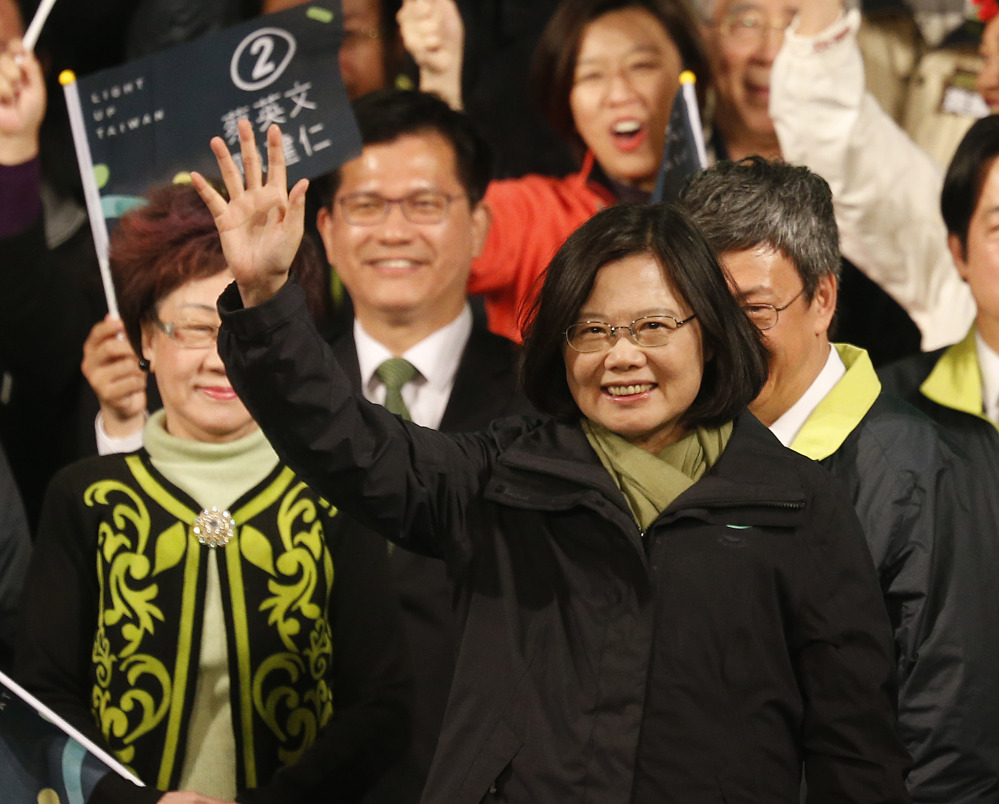 Tsai Ing-wen celebrates Saturday in Taipei, Taiwan, after she won 56 percent of votes in a national election that seemed to reject years of focusing on a cozy relationship with China.