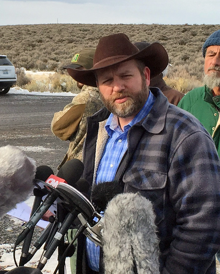 Ammon Bundy talks to reporters at Malheur National Wildlife Refuge in Burns, Ore., Thursday.