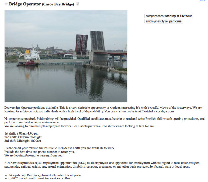 An image of the job posting on Craigslist for bridge operators for the Casco Bay Bridge, whose operation the state has turned over to a private Florida company.
