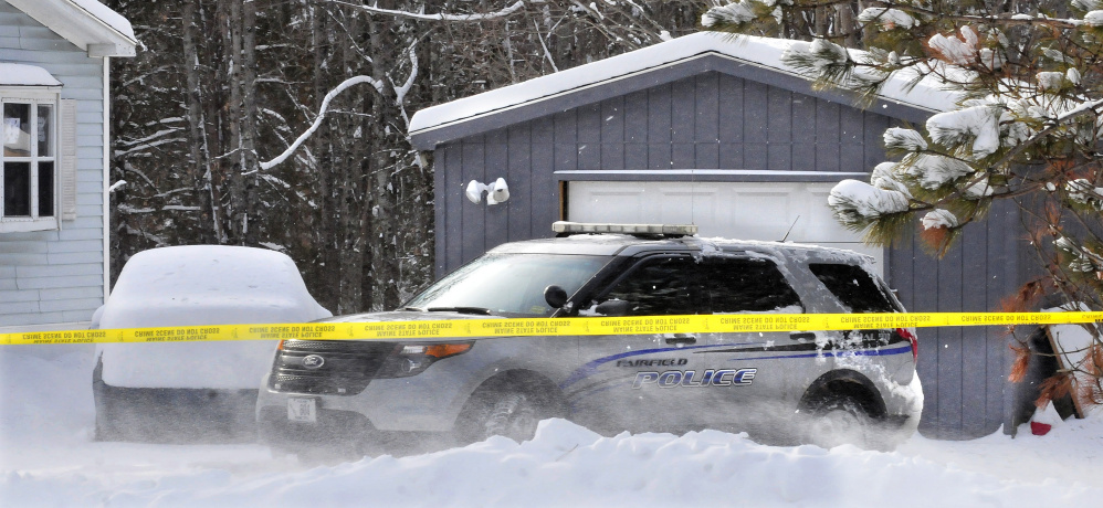 A Fairfield police cruiser is parked on Jan. 13, 2016, in front of the garage where state police discovered the remains of a newborn boy. The mother, Kayla Stewart, pleaded guilty Wednesday to manslaughter.