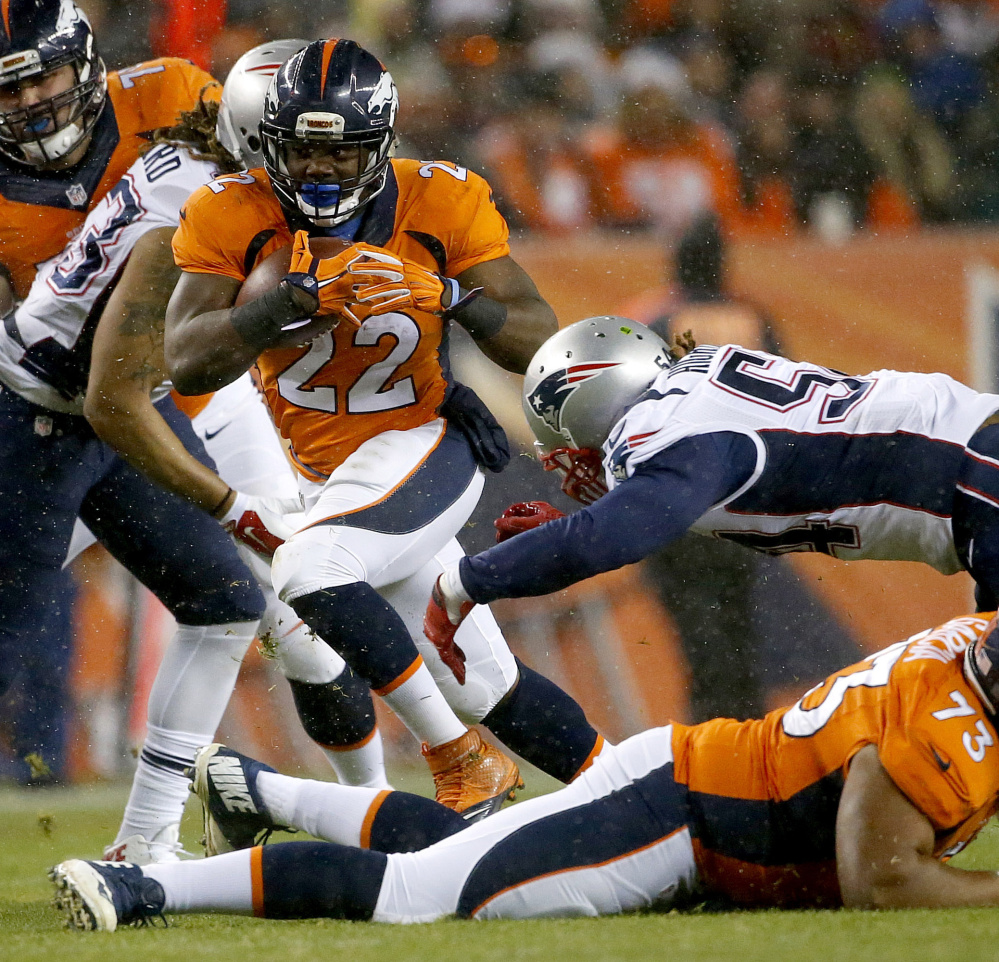 C.J. Anderson, who scored the overtime touchdown against the Patriots in November, and Ronnie Hillman will be counted on by the Broncos to gain yards and control the ball.