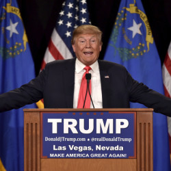 Republican presidential candidate and businessman Donald Trump speaks at a campaign rally in Las Vegas, Nevada in January.