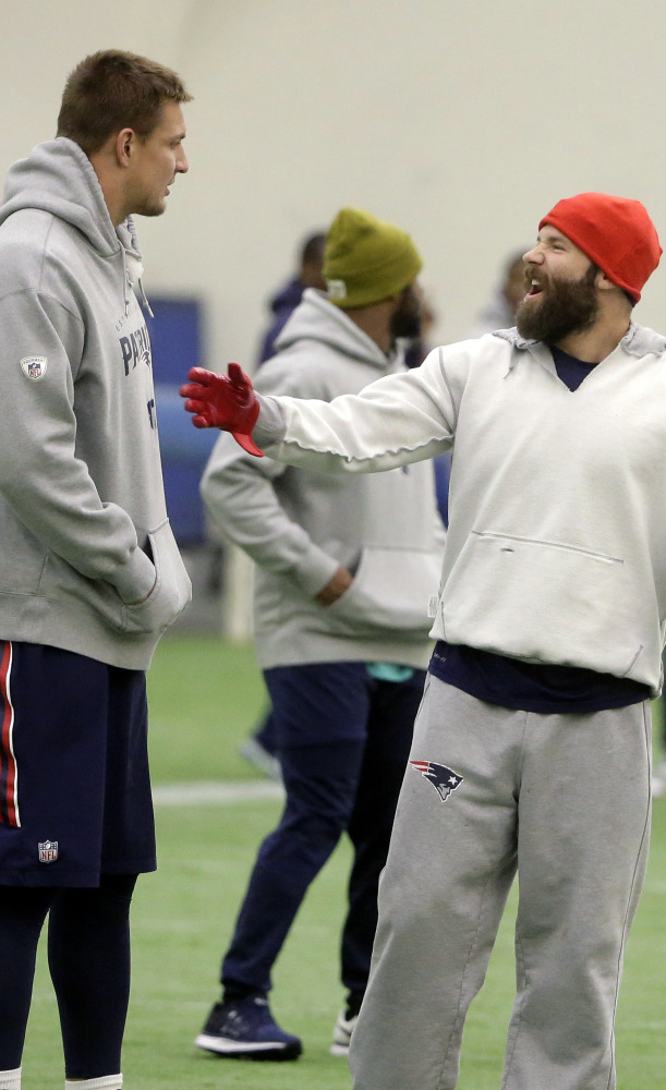 New England tight end Rob Gronkowski, left, and receiver Julian Edelman, were listed as questionable for Sunday but should play.
