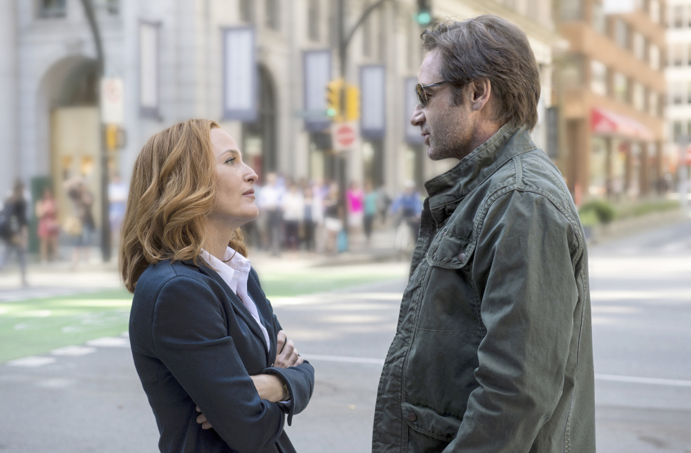 """Gillian Anderson and David Duchovny reprise their roles as the dogged FBI agents Scully and Mulder in six new episodes of """"The X-Files,"""" premiering Sunday on Fox."""