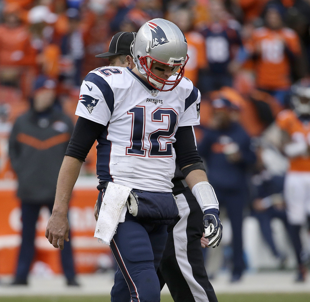 Patriots quarterback Tom Brady set an NFL record Sunday by playing in his 31st postseason game, breaking a tie with former teammate Adam Vinatieri, but he missed out on a chance to go to the Super Bowl for the seventh time.