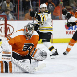 The Flyers' Michal Neuvirth can't stop a shot by the Bruins' Brett Connolly with 1:54 left in the third period of Monday night's game in Philadelphia. Boston won, 3-2, on Connolly's goal.