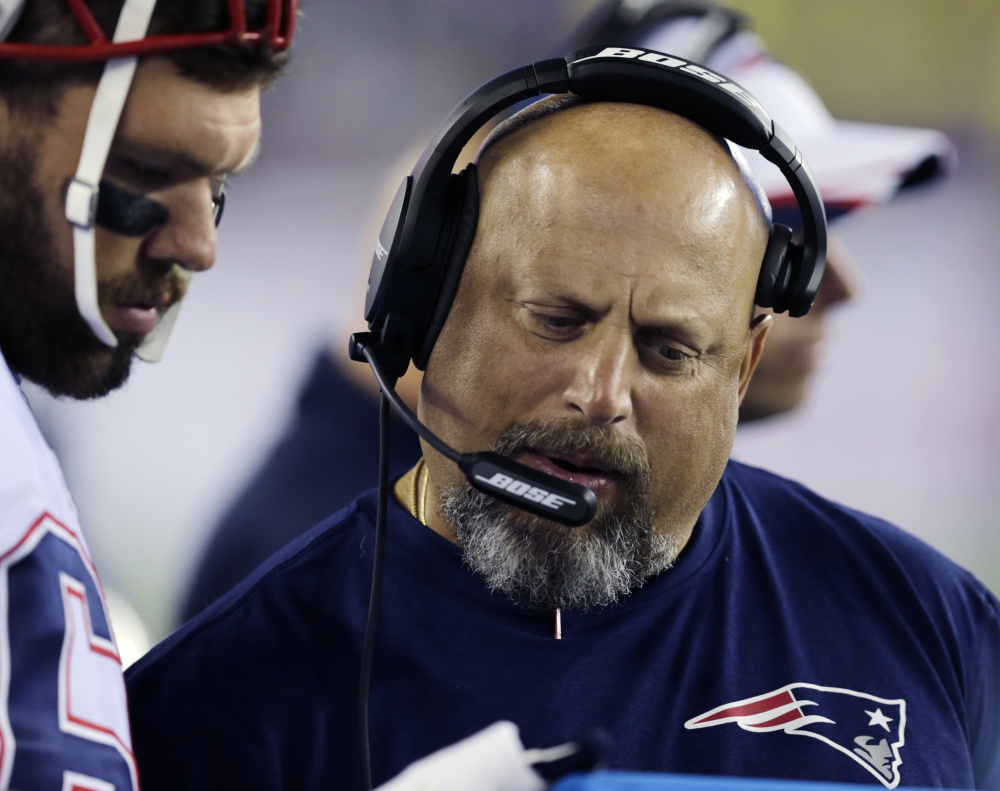 Dave DeGuglielmo spent two seasons as New England's offensive line coach, but was reportedly fired Monday after the Patriots' 20-18 loss in the AFC championship game.