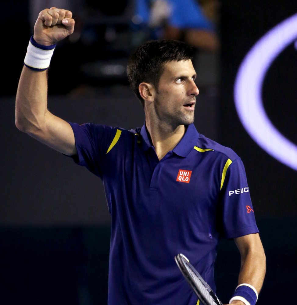 Top-ranked Novak Djokovic celebrates after defeating Kei Nishikori in the quarterfinals at the Australian Open. Up next ... No. 3 Roger Federer for the 45th time.