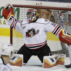 Portland Pirates' goalie Mike McKenna, making a save during the second period of their game against the Springfield Falconson Dec. 16, has been named to the AHL All-Star team.
