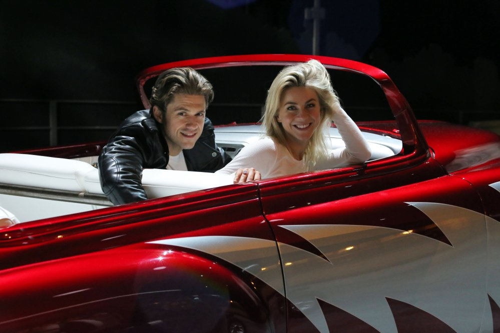 """Aaron Tveit and Julianne Hough in rehearsal for """"Grease: Live!"""""""