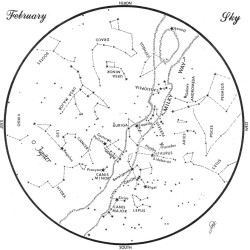 SKY GUIDE: This chart represents the sky as it appears over Maine in February. The stars are shown as they appear at 9:30 p.m. early in the month, 8:30 p.m. at midmonth and 7:30 p.m. at month's end. Jupiter is in its midmonth position. To use the map, hold it vertically and turn it so the direction you are facing is at the bottom.