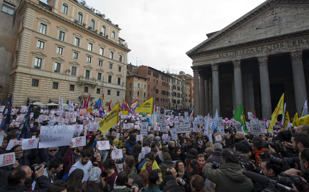 Activists in Rome demonstrate on Saturday in favor of rights for gay couples prior to a debate opening in the Italian parliament on a new civil unions bill. Italy is the last country in Western Europe without rights for same-sex couples.