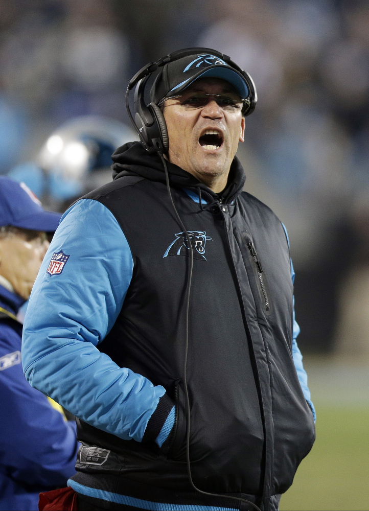 Carolina Panthers head coach Ron Rivera yells during the second half the NFL football NFC championship game against the Arizona Cardinals on Jan. 24 in Charlotte, N.C.  The Associated Press