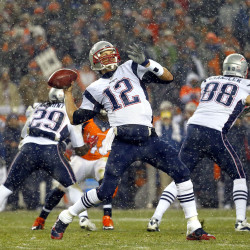 FILE - In this Nov. 29, 2015, file photo, New England Patriots quarterback Tom Brady (12) throws against the Denver Broncos during the first half of an NFL football game, in Denver. New England and Denver. The Associated Press