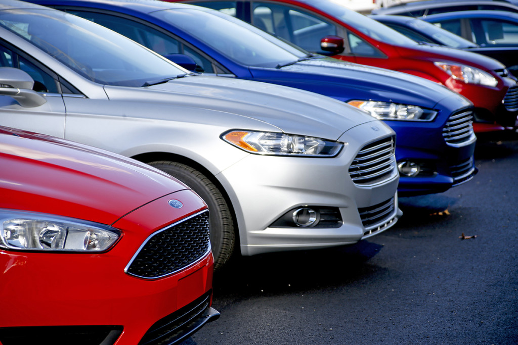 New 2015 Ford Fusions await buyers on the sales lot at a Butler, Pa. , dealership. Ford was the best-selling brand for the sixth straight year, with sales of just over 2.5 million vehicles. The Associated Press