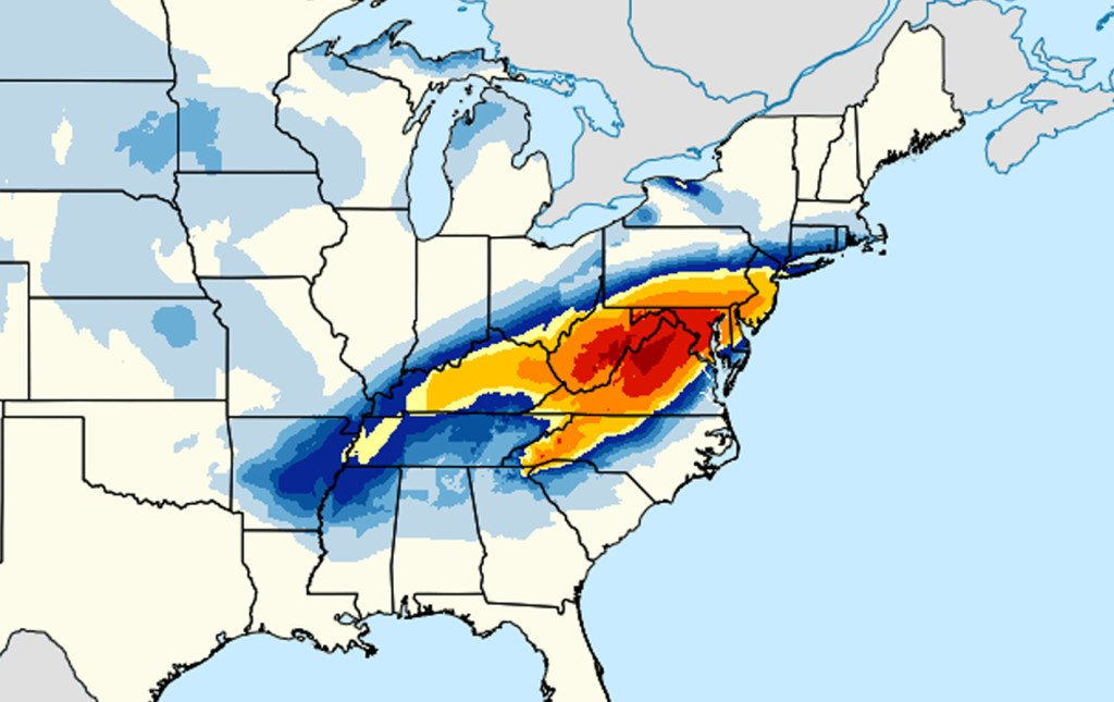 This image provided by National Oceanic and Atmospheric Administration's shows a computer model forecasting the chances of a snow storm hitting the East Coast this weekend, Jan. 22-23, 2016. Snow up to two feet, was forecast for areas west and southwest of the Washington, with Washington possibly getting 15 to 20 inches, Philadelphia could see 12 to 18, and New York City and Long Island could see 8 to 10,