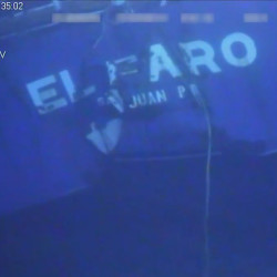 A still shot from undersea video footage of the wreckage from the El Faro. The footage was released in January by the National Transportation Safety Board.
