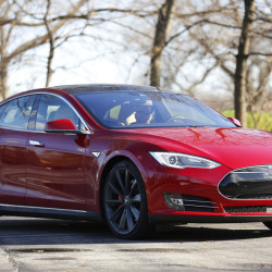 An exterior view shows the software-updated Tesla Model S P90D, featuring limited hands-free steering, making the Tesla the closest thing on the market to an autonomous-driving enable vehicle.