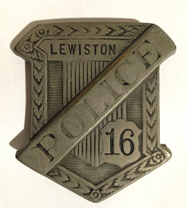 Policeman's badge worn by Anthony Petropulos when he served on the Lewiston Police Force from 1918-1945.