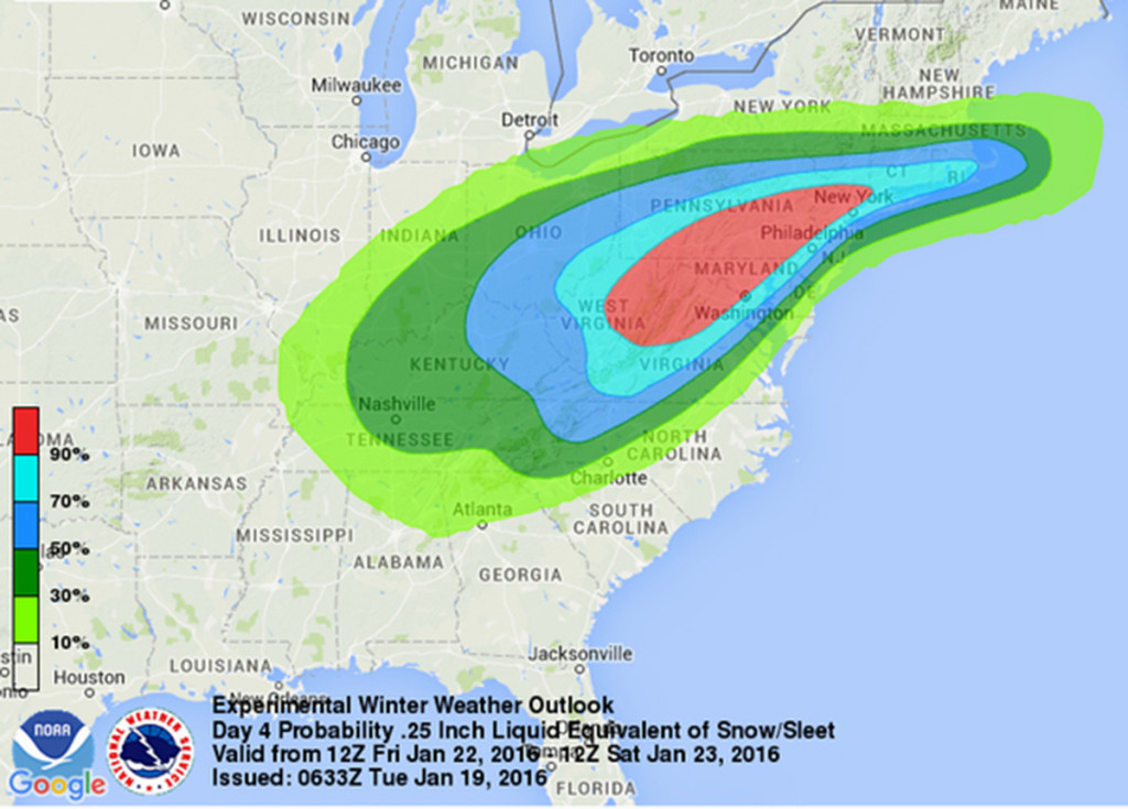 This image provided by National Oceanic and Atmospheric Administration's (NOAA) National Weather Service Weather Prediction Center shows an early computer model forecasting the chances of a windy, strong sleet-snow storm hitting the East Coast this weekend. NOAA via AP