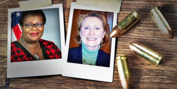 Sen. Roxanne Persaud, left, and Assemblywoman Jo Anne Simon, both Democrats, appear in this image tweeted by the NRA publication America's 1st Freedom.