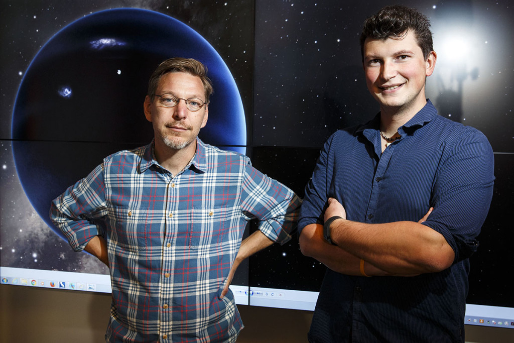 Mike Brown, professor of planetary astronomy, and Konstantin Batygin, assistant professor of planetary science, at the California Institute of Technology, announced Wednesday that they have found new evidence of a giant icy planet lurking in the darkness of our solar system far beyond the orbit of Pluto. Photo for The Washington Post by Patrick T. Fallon