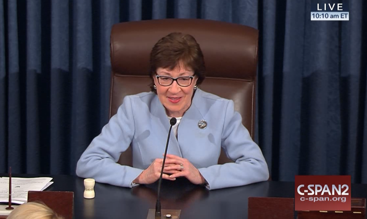 Sen. Susan Collins served as the presiding officer of the Senate on Tuesday, a day before the full Senate was back in session following last week's storm.